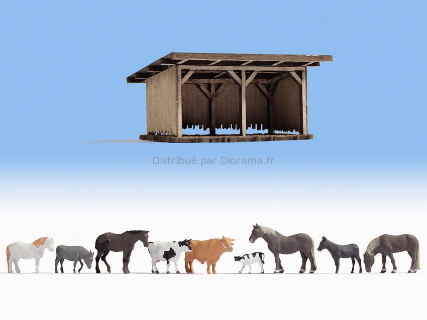 Personnages miniatures : Abri animaux avec 9 animaux - 1:160 N - Noch 12742
