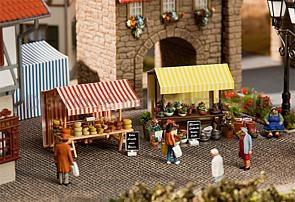 Stand de fleurs et de fromages miniatures - 1:87 HO - Faller 180614