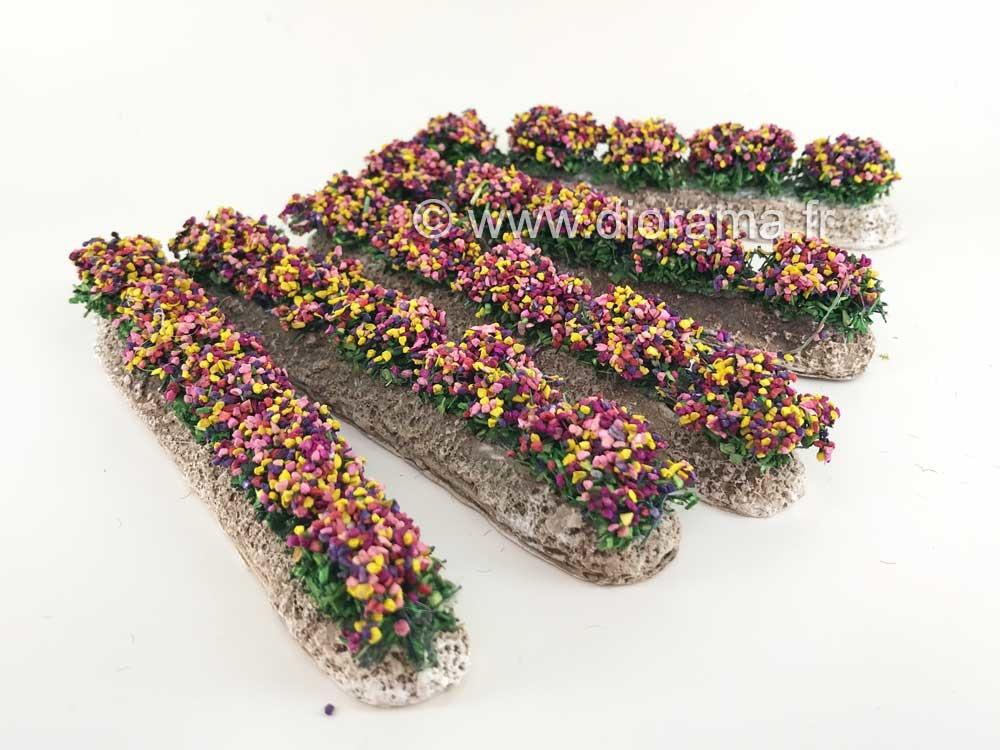 5 Rangées de fleurs - décors pour crèches et santons