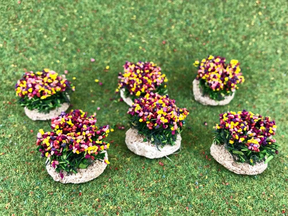 6 buissons fleuris pour crèches, dioramas, décors de paysages divers