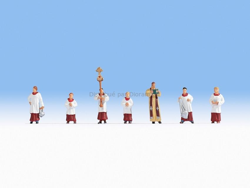 Figurines miniatures : Pretre et servants de messe 1:87 - Noch 15410