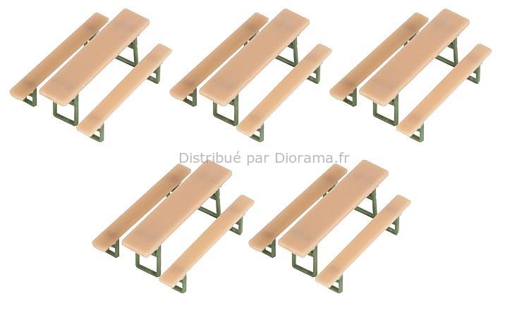 5 Tables et bancs de brasserie ‐ Époque III 1946/1977 - 1:87 HO - Faller 180963