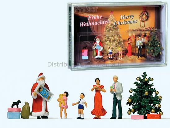 Père Noël miniature, enfants, cadeaux, sapin etc...