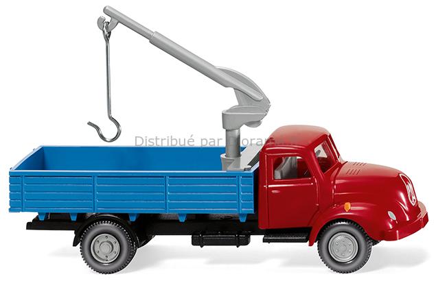 Voiture miniature : Camion-plateau avec grue (Magirus S 3500) - 1:87 - Wiking 042002