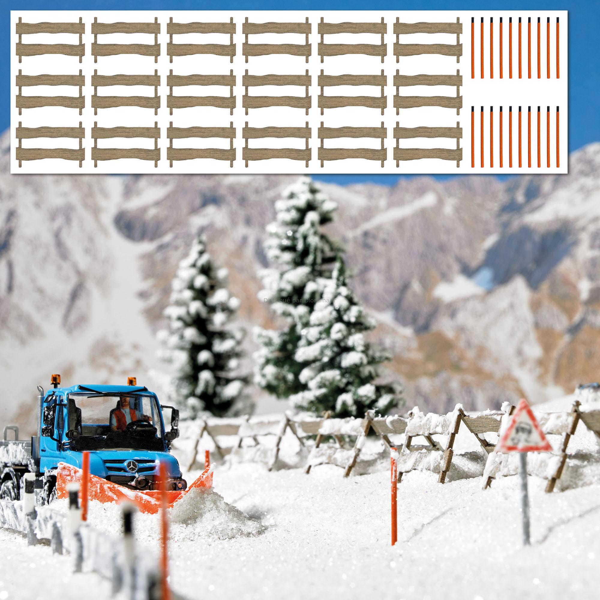 Décors miniatures : Clôtures pare-neige et balises à neige - 1:87 HO ‐ Bush 01120