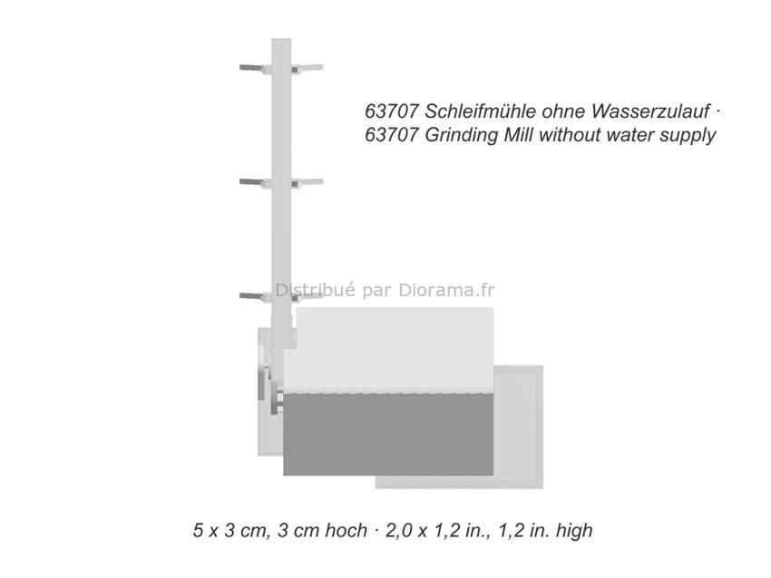 Bâtiment miniature : Moulin à affutage en découpe laser - 1:87 HO - Noch 66707