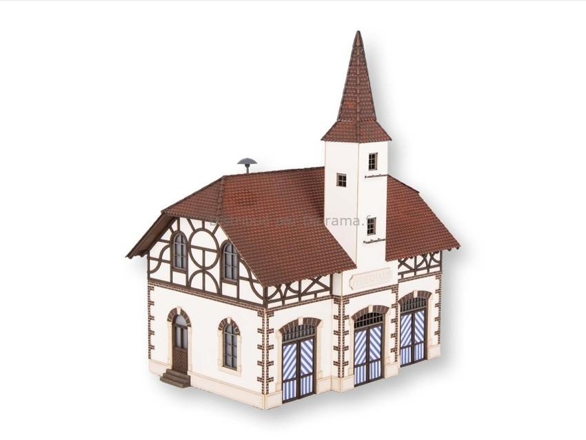 Bâtiment miniature : Caserne de pompiers en découpe laser avec micro son sirène - 1:87 HO - Noch 66380