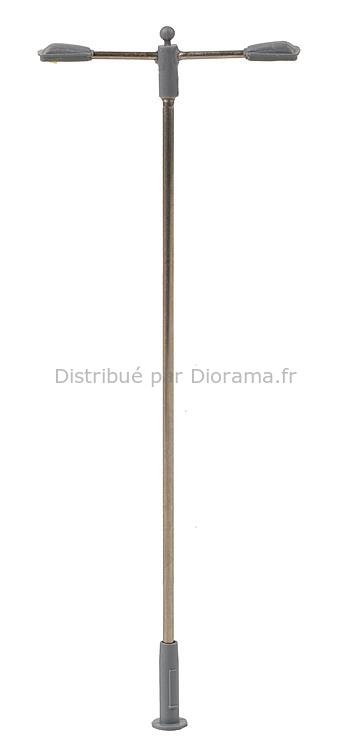 Éclairage miniature : Éclairage public LED, lampe en prolongement, deux bras - 1:87 HO - Faller 180203