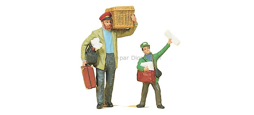 Figurines miniatures : Distributeur de journaux, porteur, serviteur 1:22,5 - G - Preiser 45063