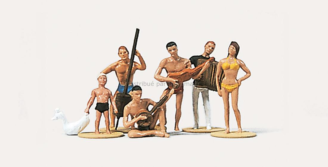 Personnages miniatures : Musiciens sur la plage - HO 1:87 - Merten 0212174 - diorama.fr