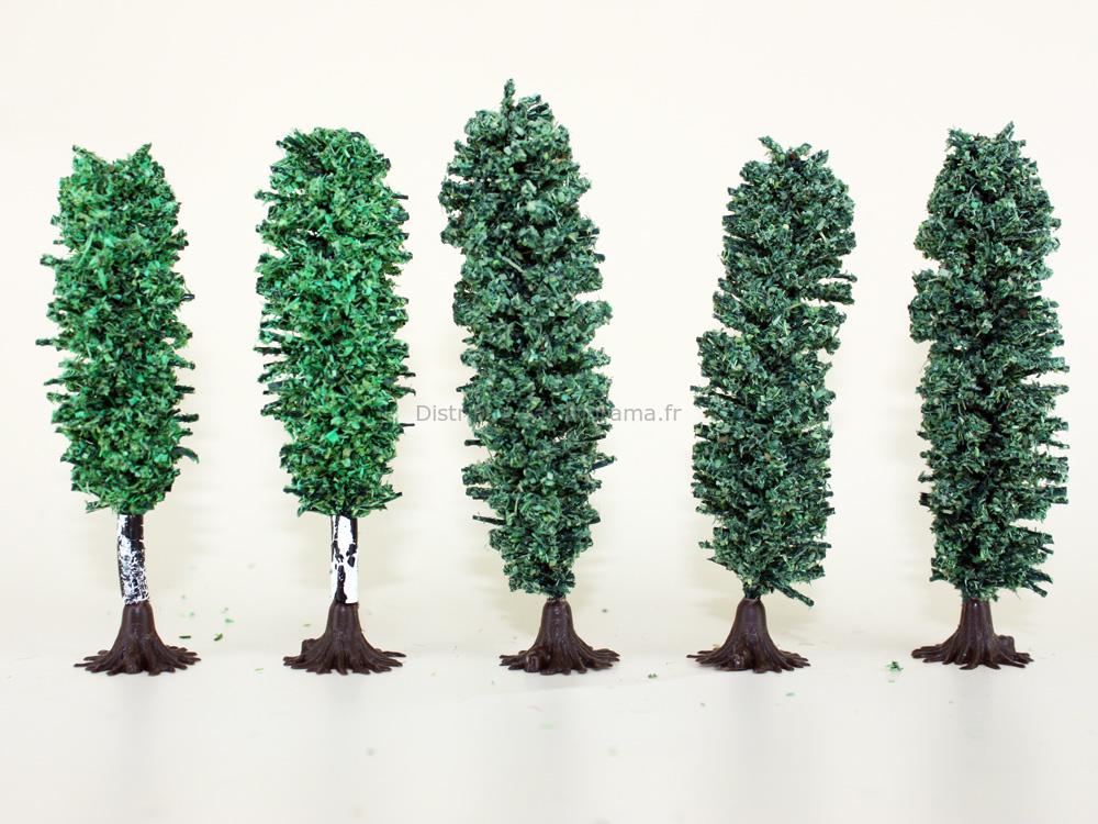Arbres miniatures 1:160, N - 3 Peupliers 8 cm, 2 bouleaux 6 cm - Jordan 7F