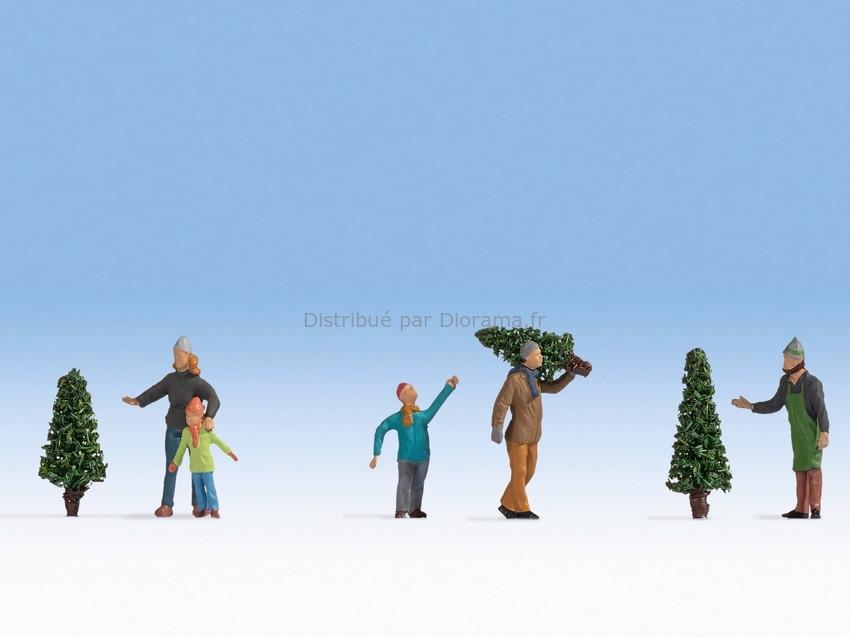 Personnages miniatures : Vente d'arbres Noël - 1:87 HO - Noch 15927 - diorama.fr