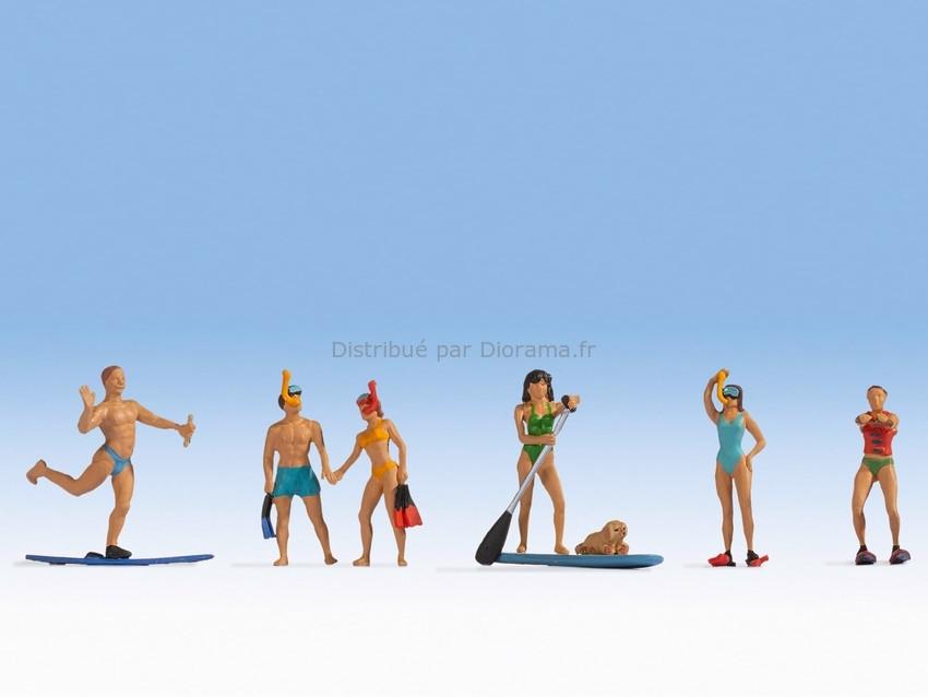 Personnages miniatures : Sportifs aquatiques - 1:87 HO - Noch 15854 - diorama.fr