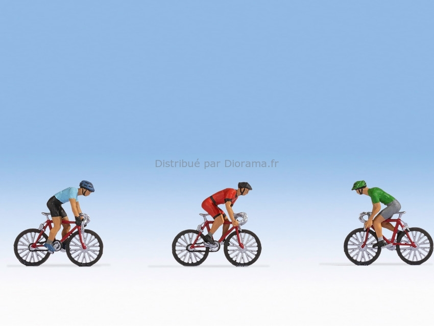 Personnages miniatures : Coureurs Cyclistes - 1:87 HO - Noch 15897 - diorama.fr