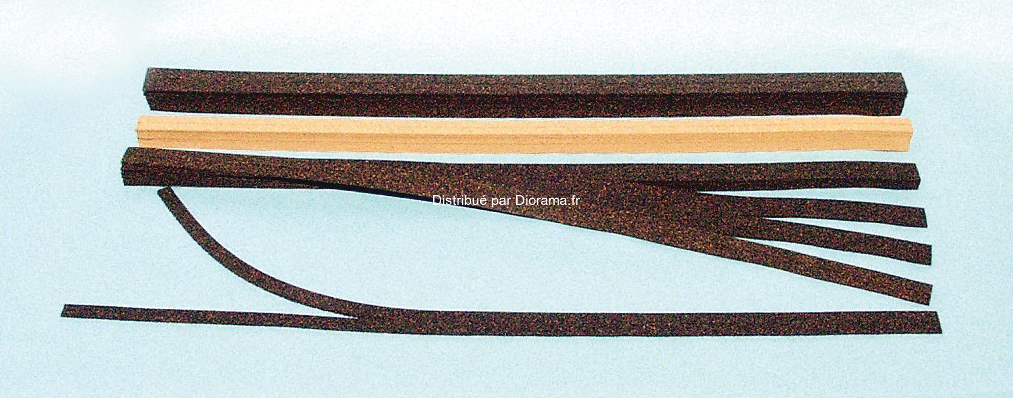 Heki 3163 - 10 Bandes de liège de 1 mètre pour ballast 1:120 - TT