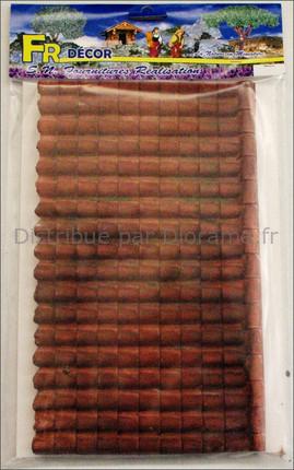 Toit en tuiles rouges platre 30 x 19 cm