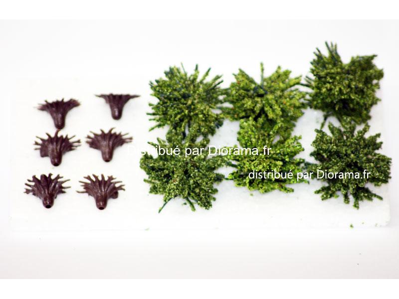 Buissons miniature verts 3 cm - échelle O ; 1:22,5