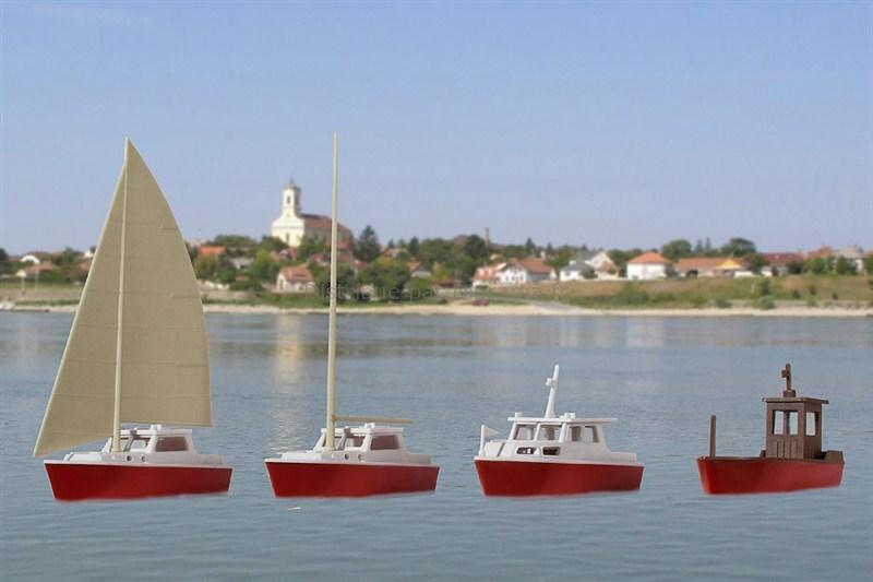 Set de 4 bateaux à monter 1:87